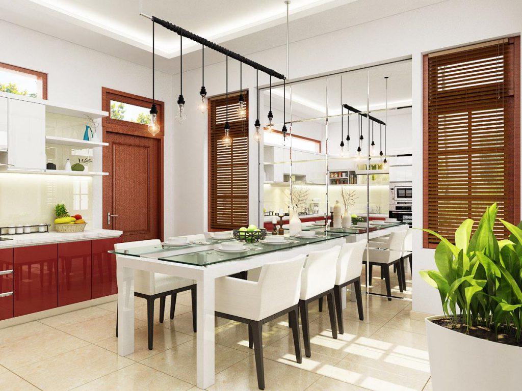 Gương để phòng ăn tượng trưng cho sự đầm ấm sung túc