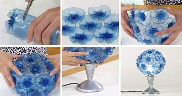 Làm đèn bàn từ chai nhựa