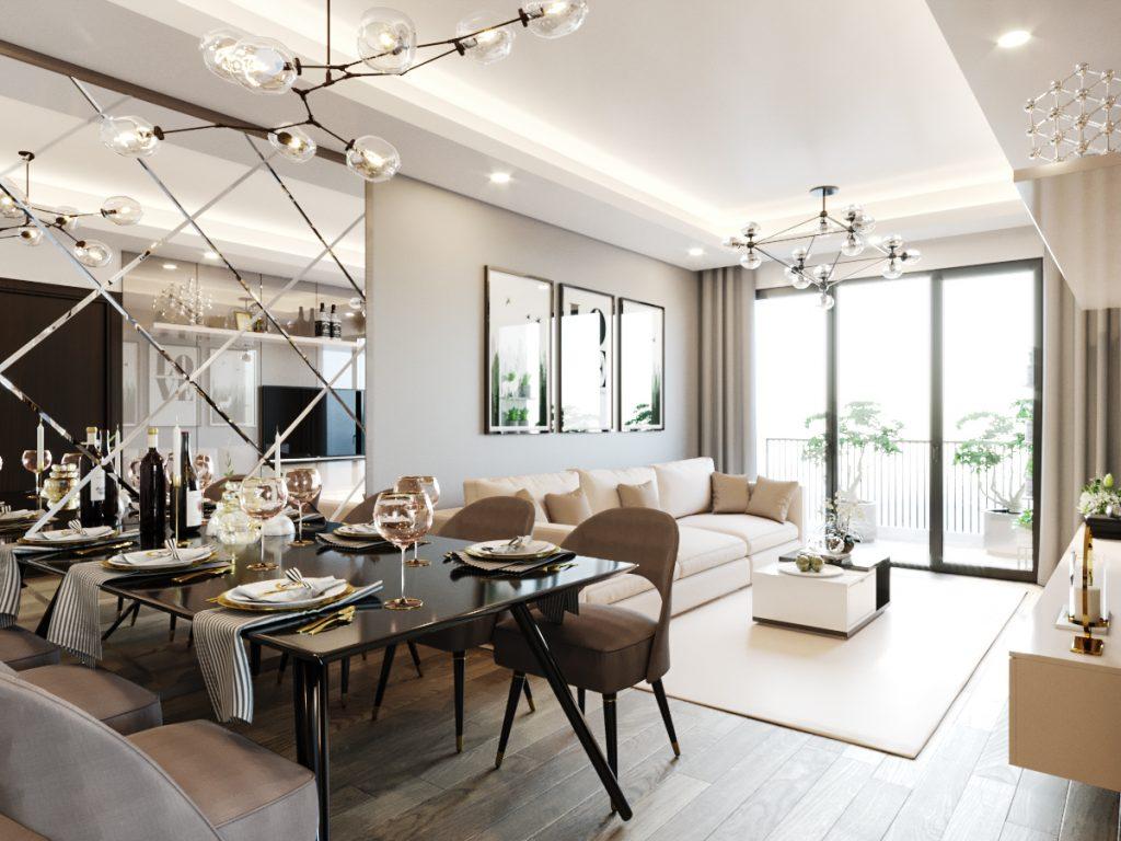 Đặt gương trong phòng khách tạo nên sự sang trọng và giúp không gian có chiều sâu, rộng rãi hơn