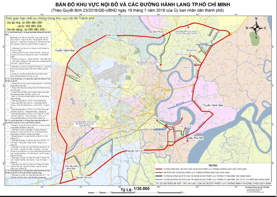 Bản đồ quy định các tuyến đường cấm tải TPHCM theo quyết định mới nhất