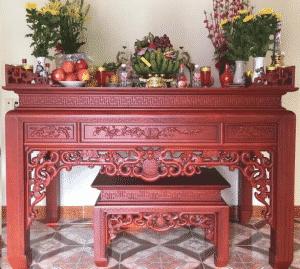 [Chi tiết] Kích thước bàn thờ gia tiên, thần tài, bàn thờ treo tường, bàn thờ Phật theo thước lỗ ban
