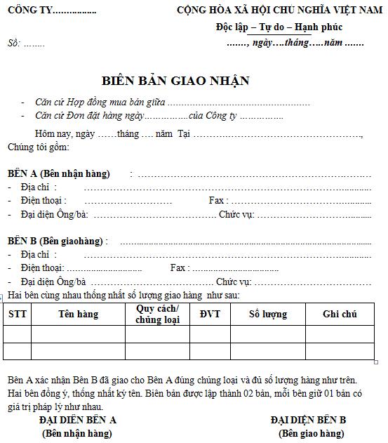 Mẫu biên bản bàn giao hàng hóa mới nhất