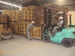 Nhân viên chuyển kho xưởng đầy đủ thiết bị hiện đại