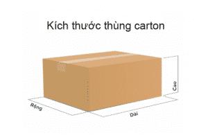 Kích thước của mỗi thùng carton gồm chiều dài, rộng, và cao