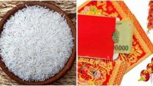 Cho túi gạo màu đỏ vào thùng gạo